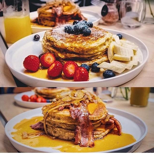 pancakeblueberry-pancakebacon